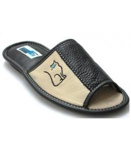 Тапки с комбинированной кожей Рапана оптом, обувь оптом, каталог обуви, производитель обуви, Фабрика обуви Рапана, г. Москва